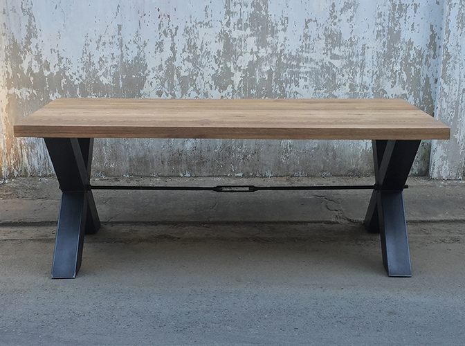 Freno Dining table, metal legs, Oak top